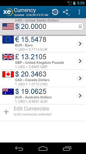 XE 货币换算(专业版) APP截图